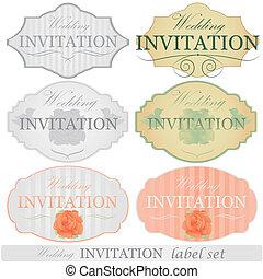 trouwfeest, etiketten, set, uitnodiging