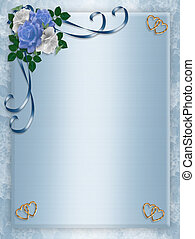trouwfeest, feestje, uitnodiging, blauwe , rozen