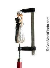 trouwfeest, figurine, onder druk