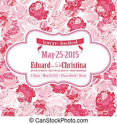 trouwfeest, -, floral, vector, achtergrond, uitnodiging, datum, sparen, kaart