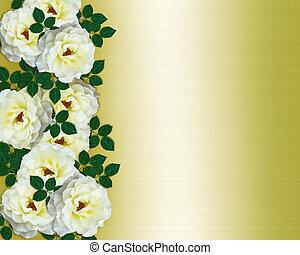 trouwfeest, gele rozen, uitnodiging, wit satijn