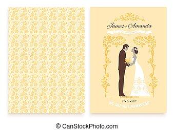 trouwfeest, gele, uitnodiging