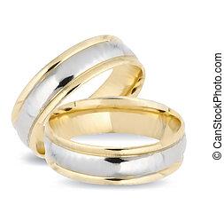 trouwfeest, goud, rings., vector