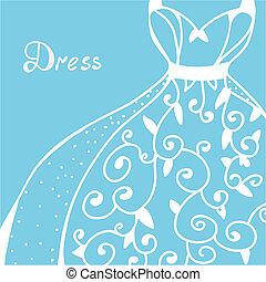 trouwfeest, -, hand, ontwerp, uitnodiging, getrokken, jurkje