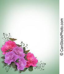 trouwfeest, hoek, uitnodiging, rozen