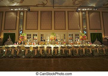 trouwfeest, hoofd, tafel