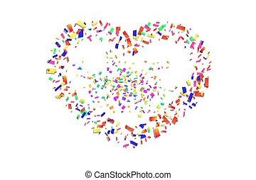 trouwfeest, illustratie, confetti, vakantie, witte , dag, vrijstaand, achtergrond., valentines, grens, herfst, liefde, vector, romantische, design., valentijn, kleur, card., groet, confetti, hart, frame., versiering, heart-shape.