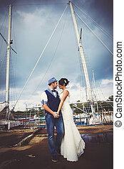 trouwfeest, jacht, mast