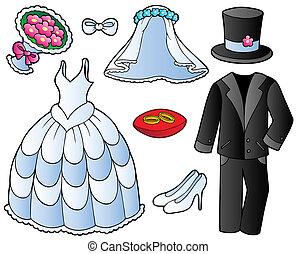 trouwfeest, kleren, verzameling