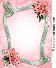 trouwfeest, lelies, uitnodiging, grens