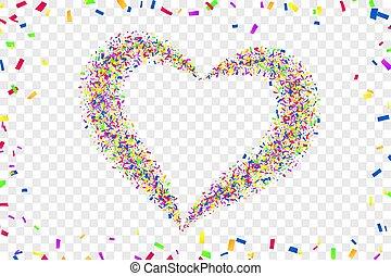 trouwfeest, liefde, vrijstaand, versiering, card., illustratie, hart, vector, valentines, valentijn, transparant, rood, achtergrond., dag, romantische, confetti, witte , herfst, confetti, frame, vakantie, heart-shape., design., grens