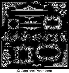 trouwfeest, lijstjes, versiering, design., floral, versieringen, hoeken, en, ouderwetse , bloemen