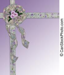 trouwfeest, linten, uitnodiging, floral