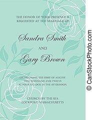trouwfeest, mal, uitnodiging