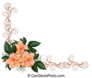 trouwfeest, of, feestje, uitnodiging, hibiscu