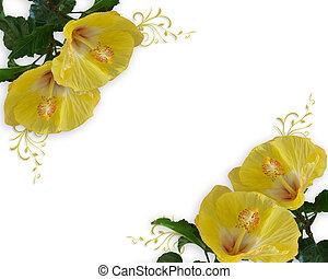 trouwfeest, of, feestje, uitnodiging, hibiscus