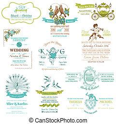 trouwfeest, ouderwetse , uitnodiging, verzameling, -, voor, ontwerp, plakboek, -, in, vector