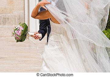 trouwfeest, paar.