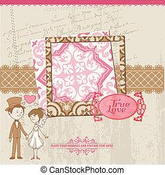 trouwfeest, plakboek, kaart, -, voor, trouwfeest, ontwerp, uitnodiging, felicitatie, plakboek, -, in, vector