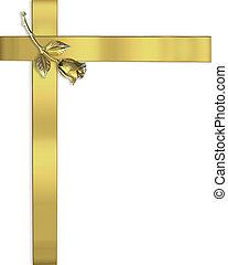 trouwfeest, ro, linten, goud, uitnodiging