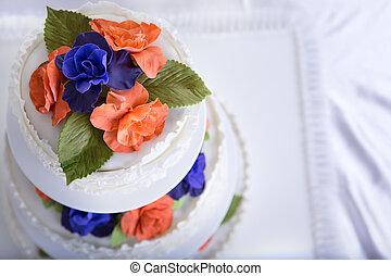 trouwfeest, rozen, taart, gekleurde, twee