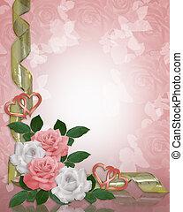trouwfeest, rozen, uitnodiging, grens