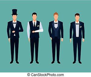 trouwfeest, set, kostuums