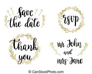 trouwfeest, set, van, lettering, citaten, en, phrases., vector, illustratie, van, black , tekst, in, gouden, wreaths.