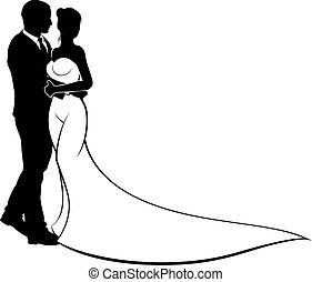 trouwfeest, silhouette, bruid en bruidegom