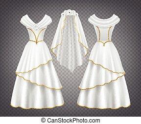 trouwfeest, sluier, vrouw, witte kleding, tule