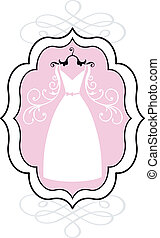 trouwfeest, vector, jurkje, frame