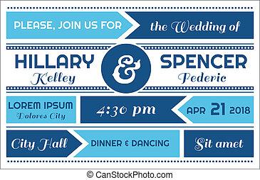 trouwfeest, vector, -, kaart, uitnodiging