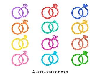 trouwfeest, vector, ringen, kleurrijke, iconen