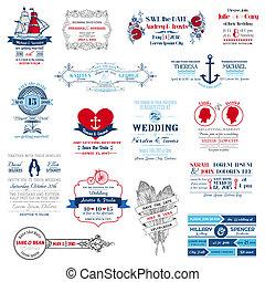 trouwfeest, -, verzameling, vector, uitnodiging, plakboek, ontwerp