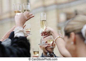 trouwfeest, viering, met, champagne