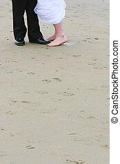 trouwfeest, voetjes, op, zand