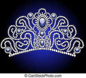 trouwfeest, vrouwelijk, diadeem, met, blauw stenig