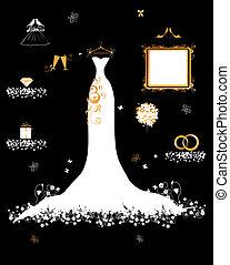trouwfeest, winkel, witte kleding, en, accessoire