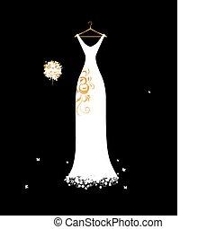 trouwjurk, witte , op, hangers, met, floral boeket