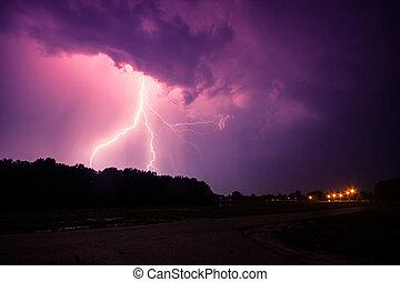 trovão, relâmpagos, nuvens, tempestade