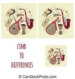 trovare, dieci, differences., set, di, mano, disegnato, tradizionale, slavo, ucraino, strumenti musicali, in, circle.