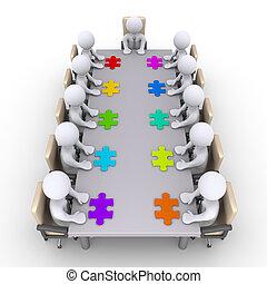 trovare, riunione, soluzione, uomini affari