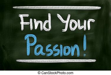 trovare, tuo, passione, concetto