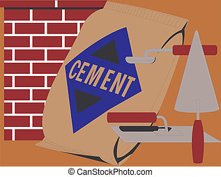 Trovels and cement - This is a few trovels and sack of...