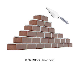 Trowel and brick wall isolated on a white background