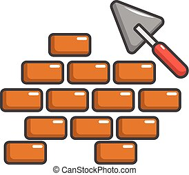 Trowel and brick wall icon, cartoon style