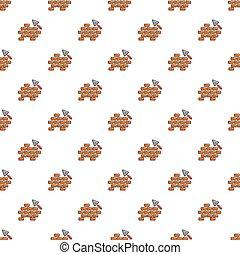 Trowel and brick wall pattern seamless