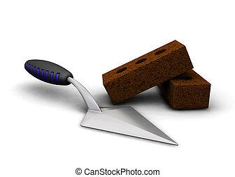Trowel and bricks - 3D render of a trowel and bricks