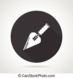 Trowel black round vector icon