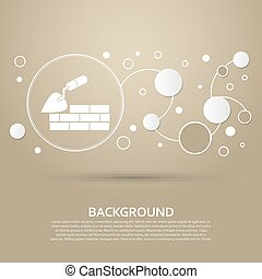 Trowel building and brick wall icon on a brown background with elegant style and modern design infographic. Vector
